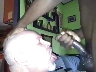 Grandpa sucking black cock & eats cum