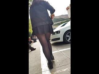 Voyeur Turkish Teen video: Turkish girl's sexy black pantyhose upskirt