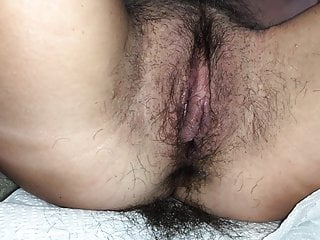 Petite spouse with furry cunt getting a trim