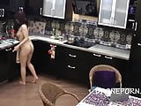 Czech teen Naked cooking