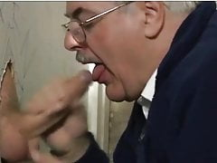 sexy silver haired moustached dad sucks cum at the gloryholefree full porn