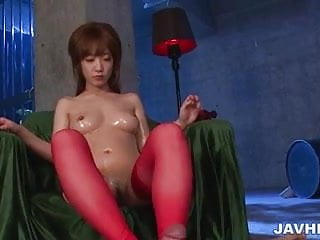 Amazing dick caressing by sexy Sana Anzyu in hot red
