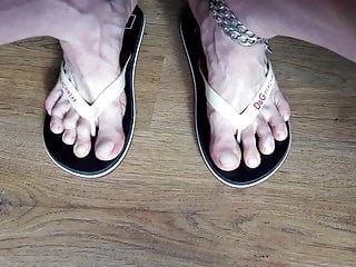 Cum Feet sexy  Flip Flop on my