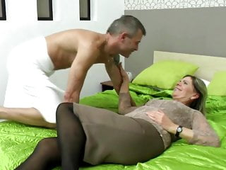 Granny's hairy cunt meets young cock