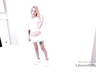 Sexy 20yo blonde fucks at modeling audition