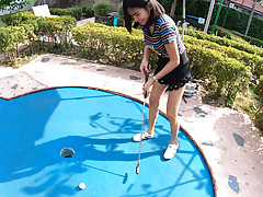 Amateur Thai teen is really bad at minigolf, but good at sex