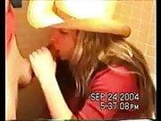 cowgirl sucking cock in bathroom