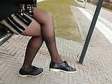Teen in candid sheer pantyhose tights