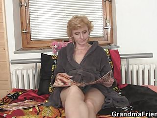 60 years outdated small granny pleases two males