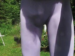 Sissy bitch in purple spandex...