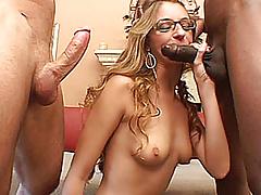Slutty blonde amateur GF interracial threesome with facials