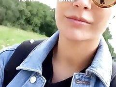 Frankie Bridge riding her bicycle selfie video