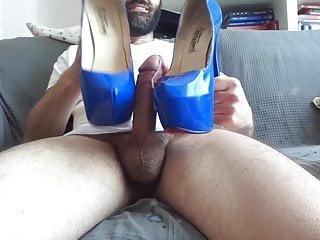 Cum over blue shoes...