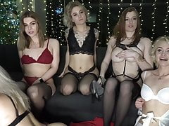 A group of girls have fun on camera