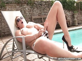 Stunning British pornstar Shay Hendrix solo fun in the sun