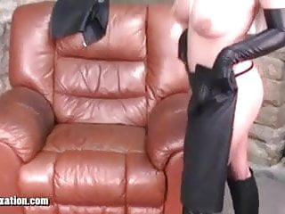 Blondes with big tits tease in leather and Honey rubs pussy
