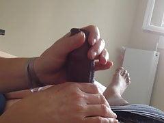 after footjob with blue toes, handjob – no cum part 3