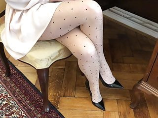 Stunning old woman Secretary in Silk Pantyhose