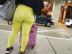 Sexy Latina In Yellow Leggings