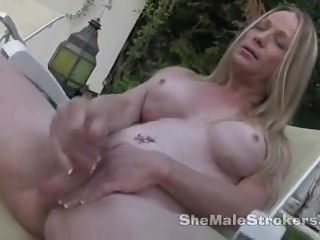 Laura stroking outside...