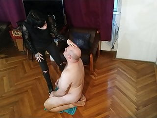 Sexy goth domina spitting on her slave's face pt1 HD