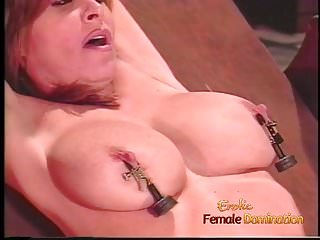 Voluptuous honey gets tied up and has whipped...