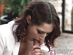 Erotic babe MinaK fed jizz after anal restructuring