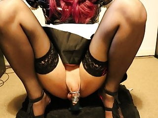 sissy maid in chastity bouncing on large dildoHD Sex Videos