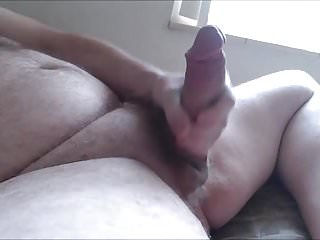 Me stroking my fat throbbing cock and shooting...