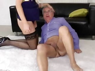 Young brit babe pussydrilled by old man