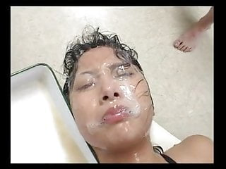 semen glazed bukkake whore