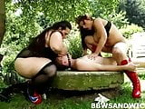BBW moms Marta and Jitka dominate young slave