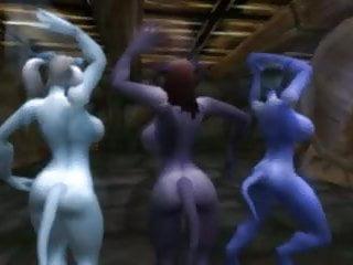 3 nude draenei dancing...