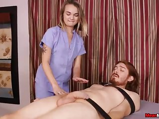 Teen blonde strokes while touching...