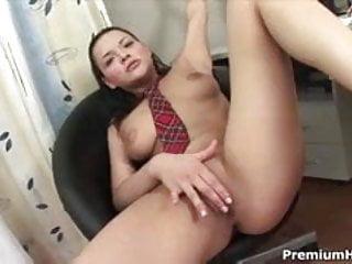 Young slut inserts dildo