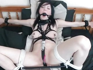 bed Cutie tied Lovense to with toy