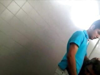 Sucking in a public toilet