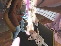 Second Life - Falara heeft een Trio op een dansende paal...
