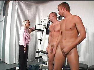 Blonde girl catches men having in the gym...