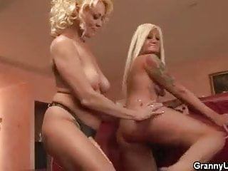 Two mature lesbian honeys play with each other...