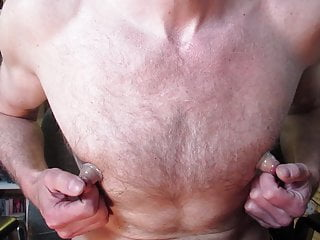 Pumped and stretched male areolas