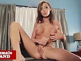 Tgirl beauty solo wanking her stiff cock