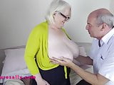 Lucky man massaging Sally's big tits