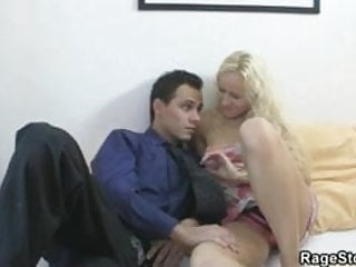 Blonde takes rough throat and cunt fucking