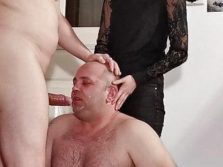 Teen goth dominatrix help her dad to facefuck slave pt1