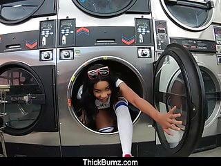 Jenna foxx fucks at the laundromat...