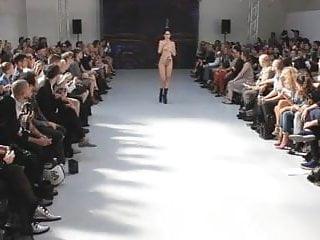 Sexy public catwalk model fashion show...
