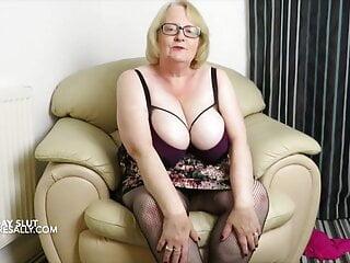 Slutty Sally shows off her arse in fishnet suspender tights