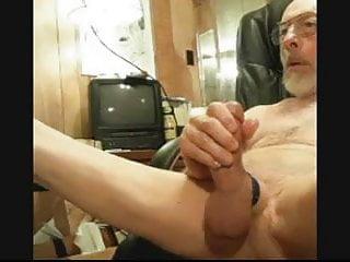 Grandpa jerks and big balls on cam...