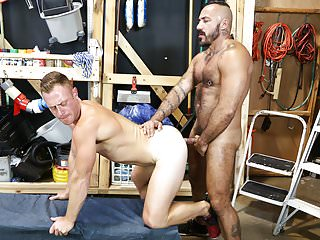 Mature gays having fun at work